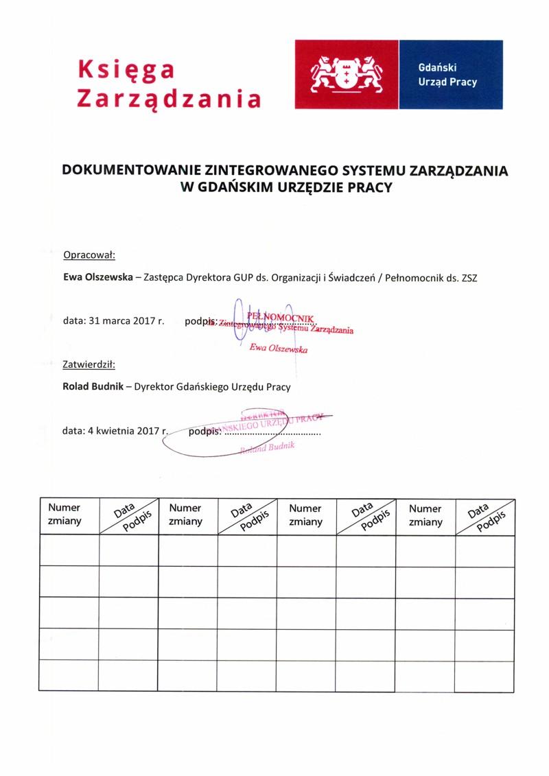 Księga Zarządzania. Strona tytułowa dokumentu